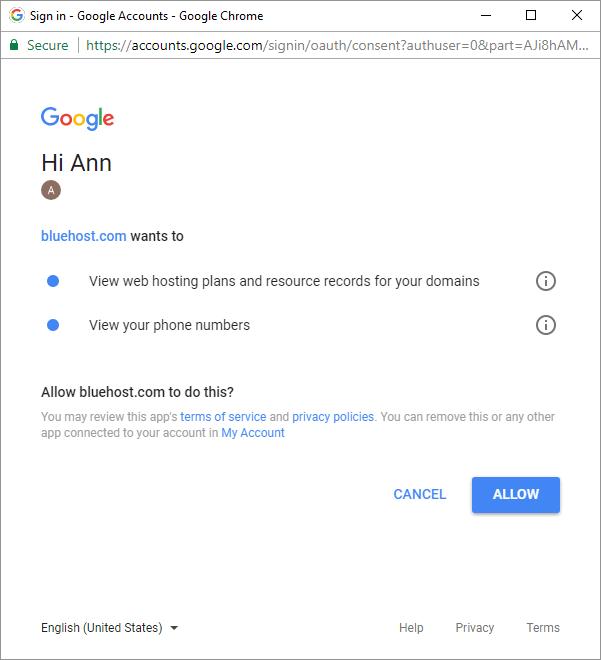 bluehost web hosting sign up